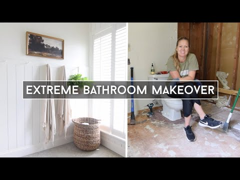 DIY Bathroom Makeover // Full Bathroom Remodel on a Budget / Small Bathroom Makeover Start to Finish