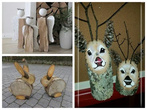DIY Log Decor Ideas - Wooden Christmas Decorations