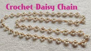 🌼 Crochet Daisy Chain 🌼 DIY Crochet Necklace tutorial (0091)