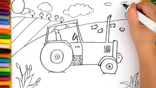 How To Draw Tractor Step By Step - Coloring Pages For Kids