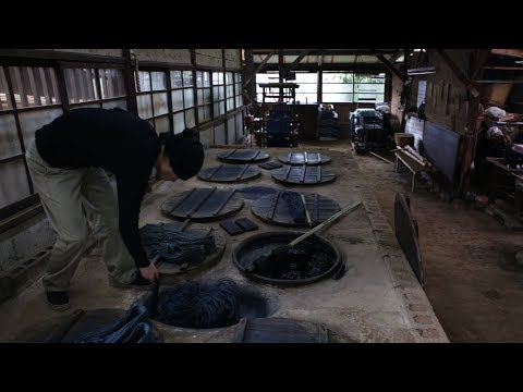 01 KURUME KASURI 久留米絣 - Japanese ikat / Traditional technique (hand weaving, natural indigo dye)