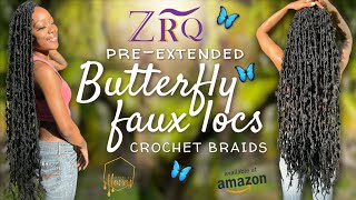 "36"" Pre-Extended Crochet Butterfly Locs 🦋 Butt Length Distressed Locs From Amazon 🔥 Feat. ZRQ HAIR"