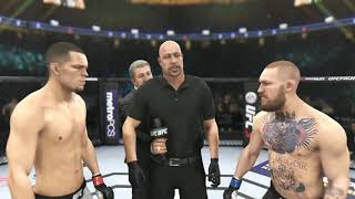 Nate Diaz vs Conor McGregor 3 all out war ending in a KO. EA Sports UFC 3