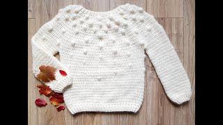 Sweter bąbelkowy na szydełku cz.3 Karolina Szydełko