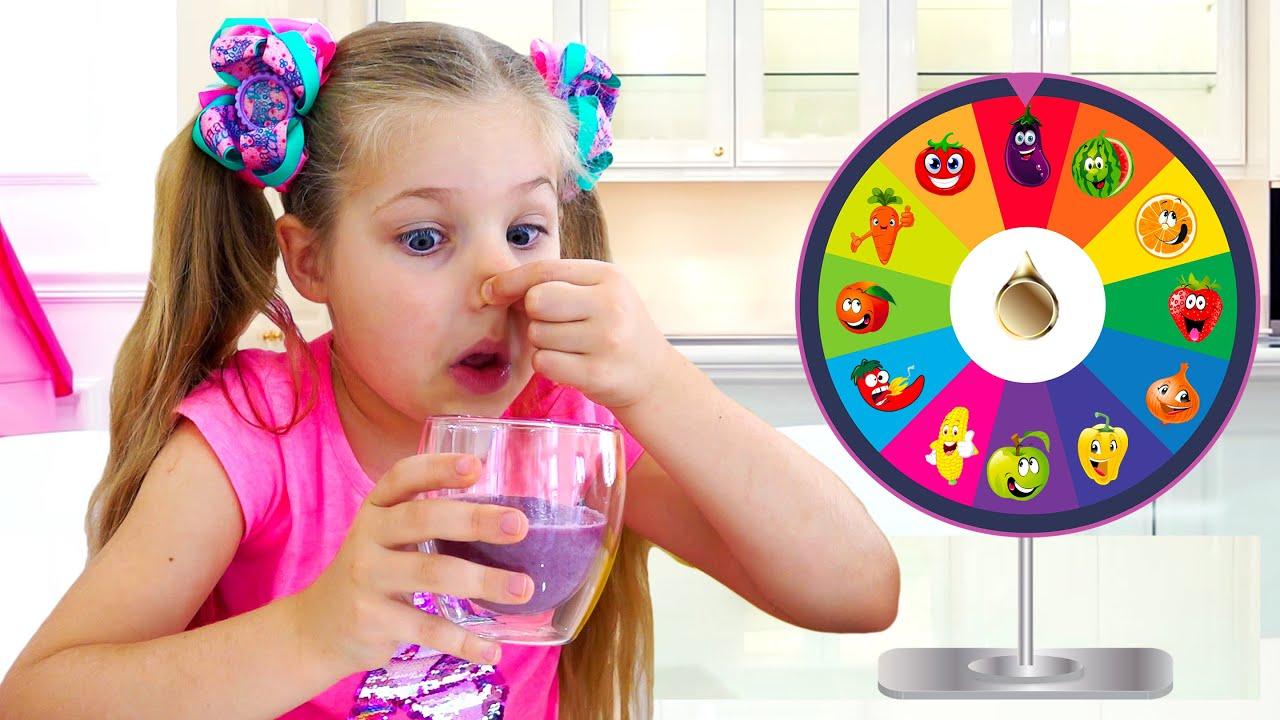 ديانا وروما يتعلمان الألوان مع الفواكه والخضروات اللذيذة