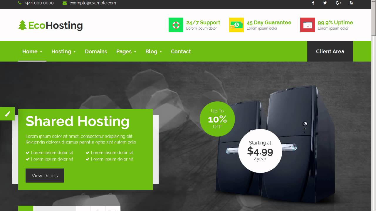 EcoHosting | Responsive HTML5 Hosting and WHMCS Template by ...