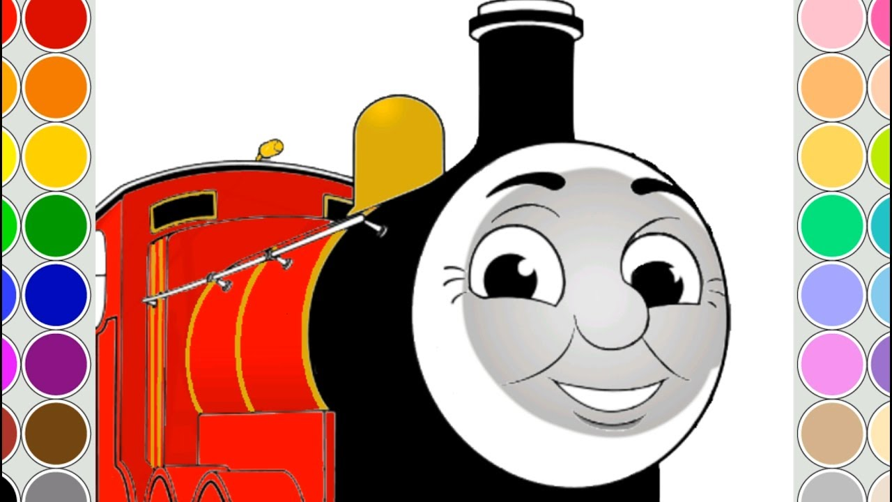 Coloring JAMES train for kids. Drawing animation Thomas and Friends ...