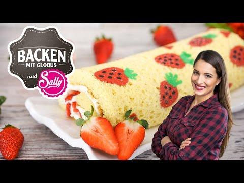 NEU: Biskuit-Sahnerolle mit Erdbeeren   Backen mit Globus & Sallys Welt #28