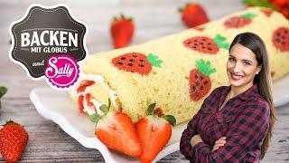 Biskuit-Sahnerolle mit Erdbeeren   Backen mit Globus & Sallys Welt #28
