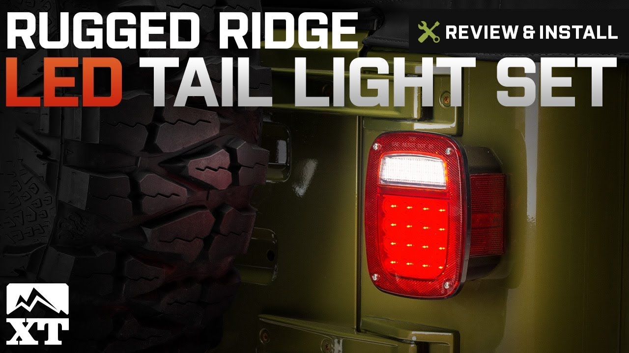 jeep wrangler 1987 2006 yj tj rugged ridge led tail light set review install [ 1280 x 720 Pixel ]