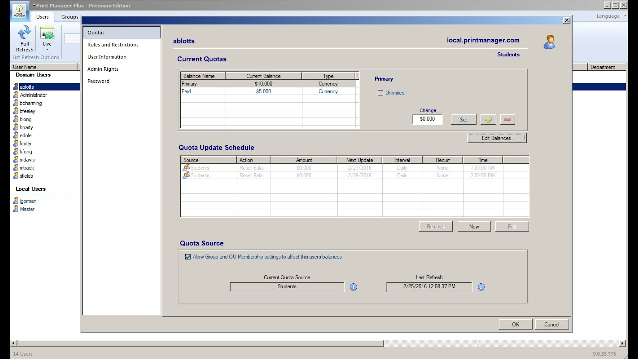 Print Manager Features Monitoring, Quotas and Control