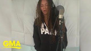 Beyonce records music for new 'Lion King' in exclusive clip l GMA