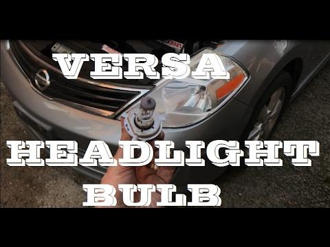 How to remove change replace Headlight bulb Nissan Versa