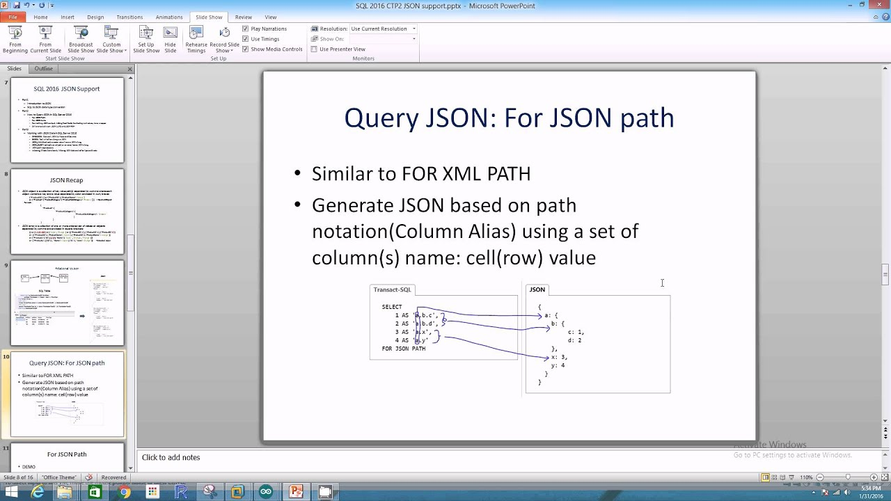 How to Query JSON in SQL 2016 Part 2 -1