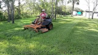 Mowing a big wet yard