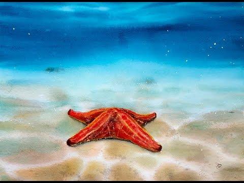Watercolor Underwater Starfish Painting Dem