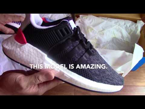 Got 2 Pairs of Adidas EQT Boost 93/17 Turbo Red. How They Fit? (90 Second Shoe Unboxing & Sizing)