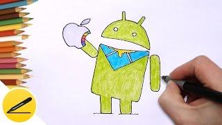 Битва Логотипов конкурентов - Android поглощает Apple используя Windows - Карикатура