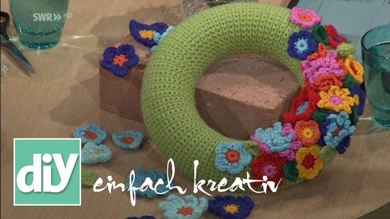 Blumenkranz häkeln | DIY einfach kreativ - YouTube