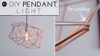 DIY Light Fixture | NO WELDING | Geometric Himmeli Light | Copper Decor