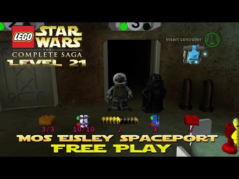 Lego Star Wars TCS: Ep 4 Chap 3 / Mos Eisley Spaceport FREE PLAY (All Collectibles) - HTG