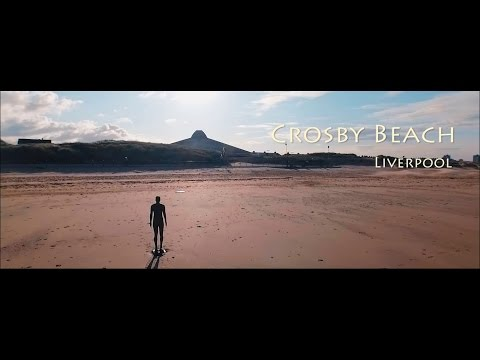 Crosby Beach - Another Place by Antony Gormley Aerial Video