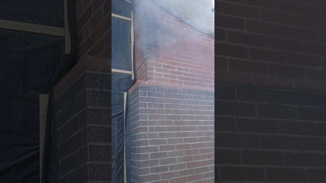 baking soda removing fire soot damage off brick chimney youtube