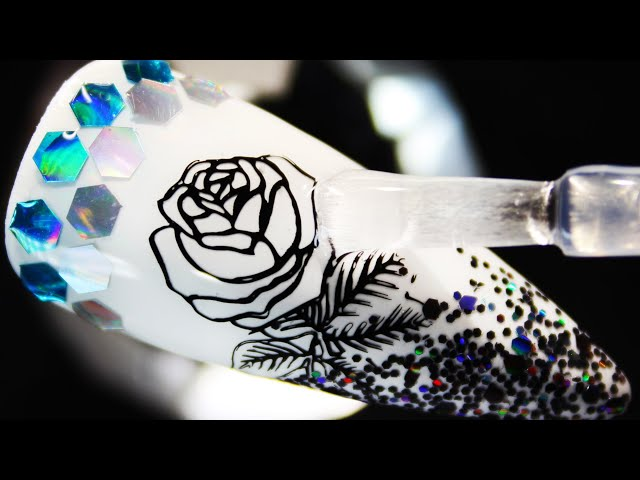 How To Create Glitter Rose Coloring Stamping Nail Art Design (Part 1)