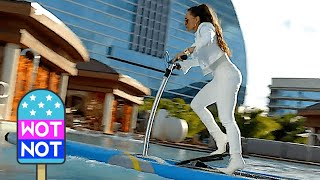 Jennifer Lopez On Paddle Board In Amazing White Boot Heels - Is That Pitbull?!