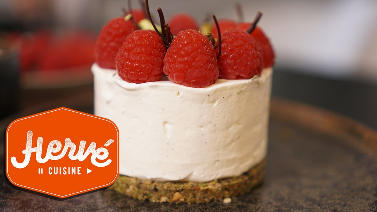 Le cheesecake SANS CUISSON framboises pistaches - YouTube