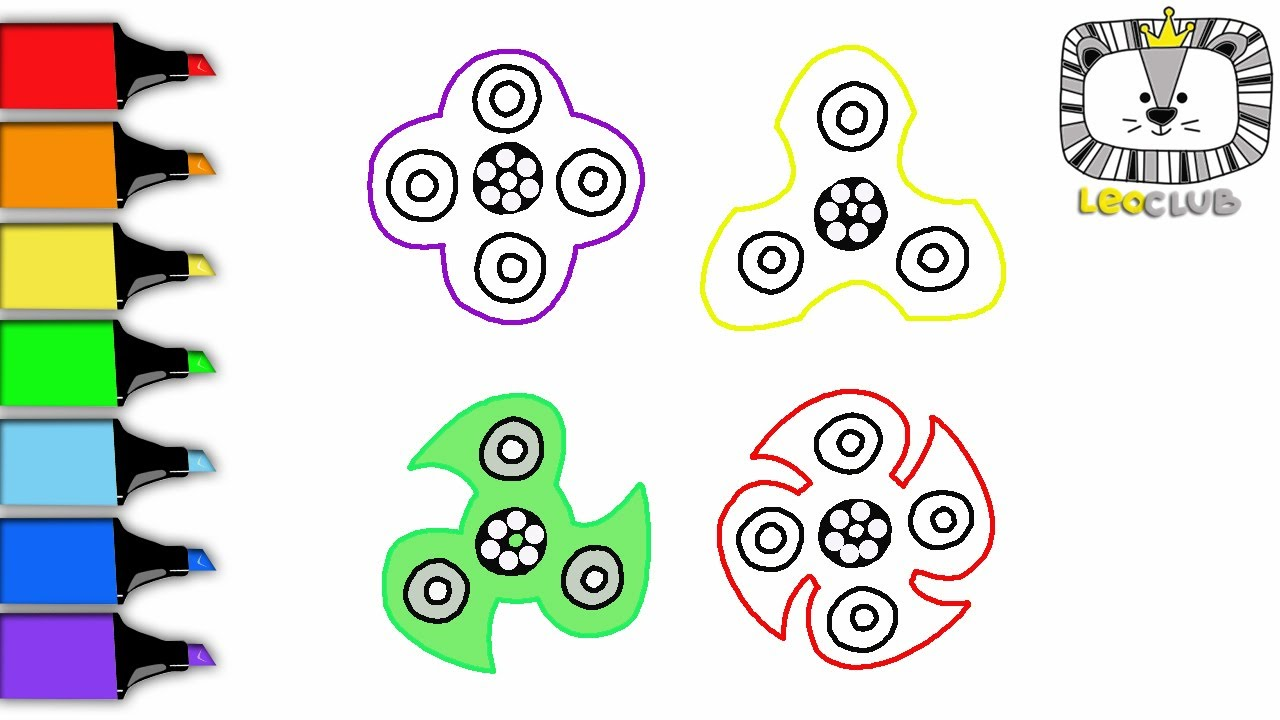 how to draw fidget spinner learning coloring pages for kids