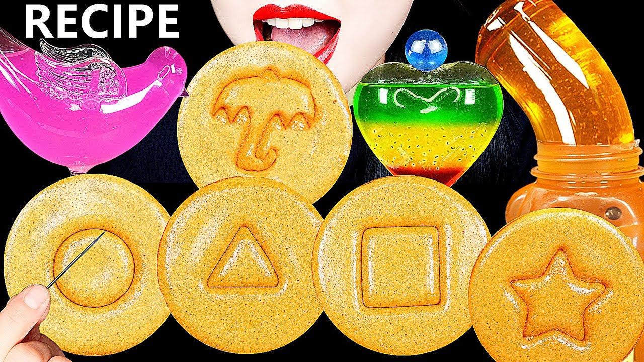ASMR SQUID GAME CANDY CHALLENGE DALGONA RECIPE 직접 만든 오징어게임 달고나 DRINKING SOUNDS 신기한 물 먹방 HONEY JELLY