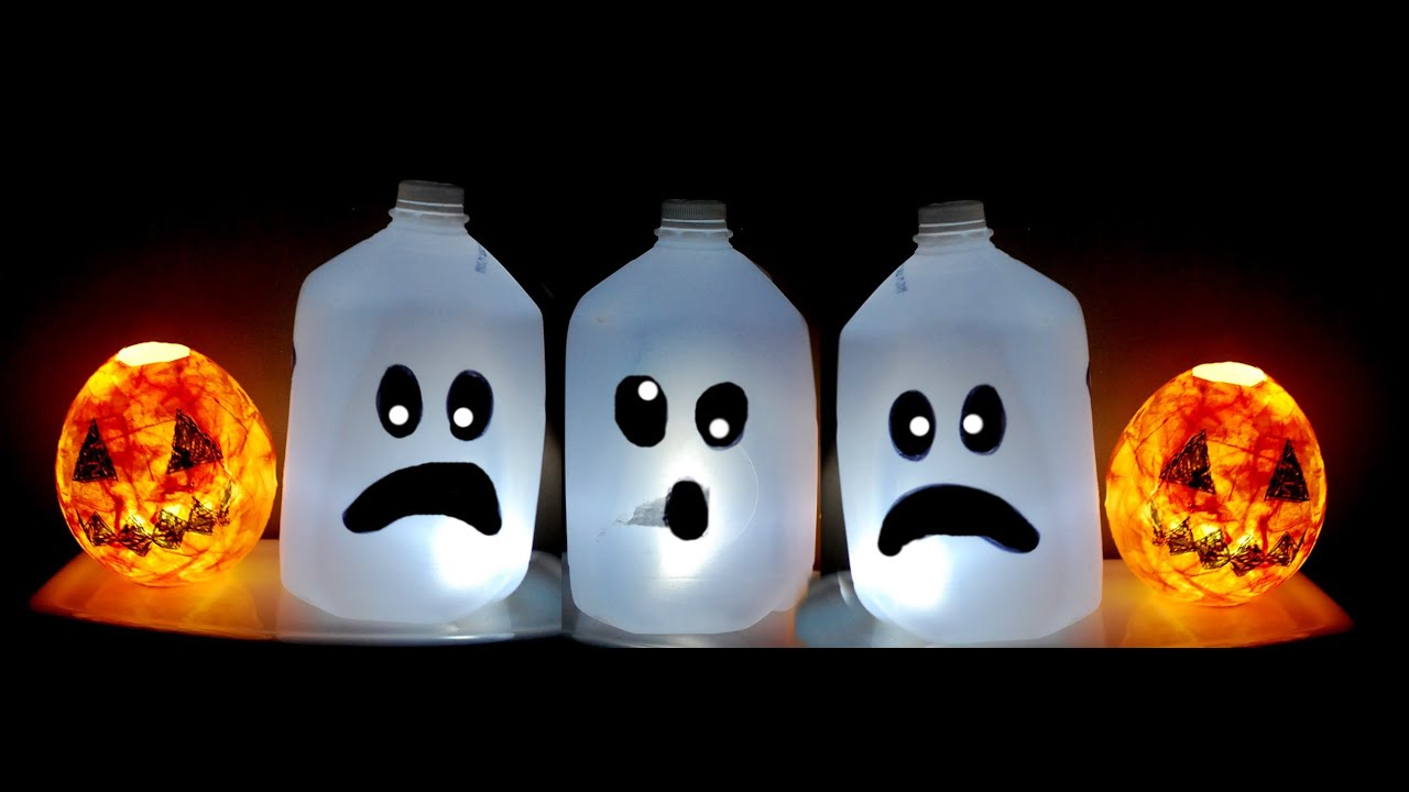 kids halloween craft cute ghost milk jug easy halloween decorations youtube - Easy Homemade Halloween Decorations