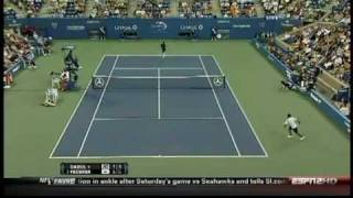 Roger Federer Hits Another Tweener Between The Legs Shot - US Open 2010 - 1st Round