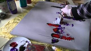 Acrylmalerei abstract acrylic painting Demo Abstraktes Bild malen /spachteln -spackle
