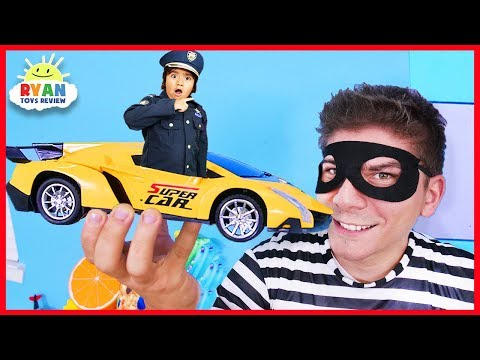 Ryan Pretend Play Police Office in the mini toy car!!!!