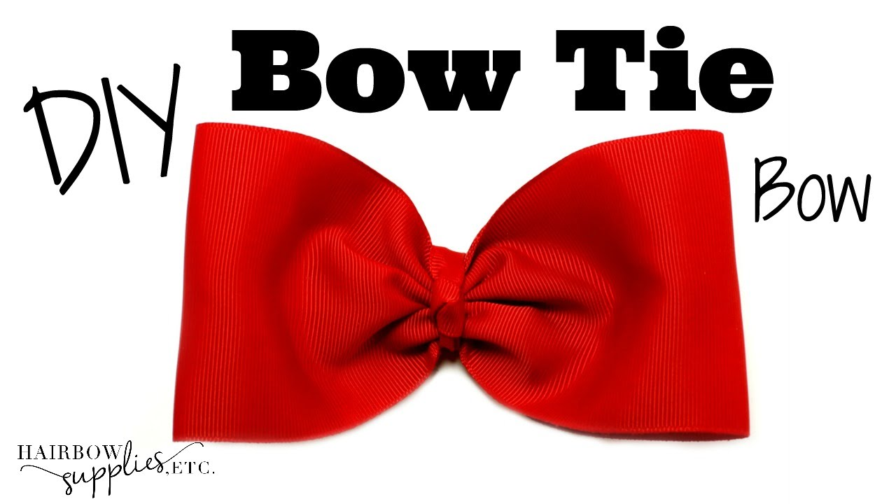 b25457361917 Bow Tie Hair Bow Tutorial - Large Bow Tie Bow with 3 inch ribbon ...