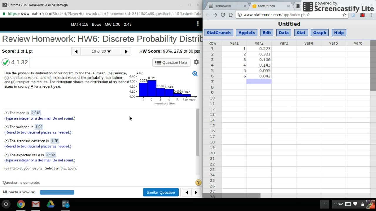 Statcrunch: Finding Mean, Variance, And Standard Deviation From A  Probability Distribution Histogram