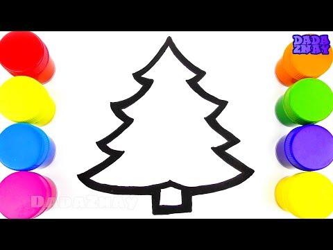 НОВОГОДНЯЯ ЁЛКА|Как нарисовать елку|Учим цвета|Елка в блестках|Видео для детей|Учим цвета с красками