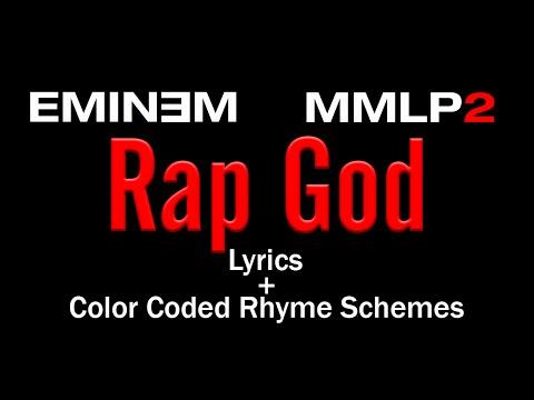 Eminem - Rap God - [Lyric Video & Colored Rhyme Scheme]