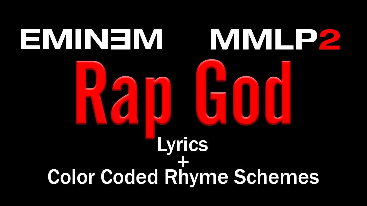 Eminem Rap God Lyric Video Colored Rhyme Scheme Youtube