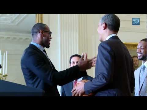 Obama welcomes Miami Heat at White house (Lebron James excited)