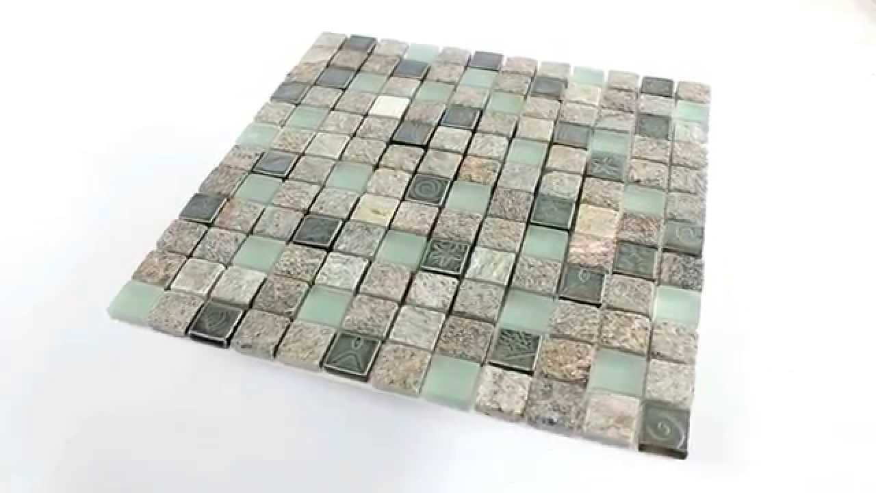 quarzit glas naturstein mosaik fliesen 23x23x8mm youtube. Black Bedroom Furniture Sets. Home Design Ideas