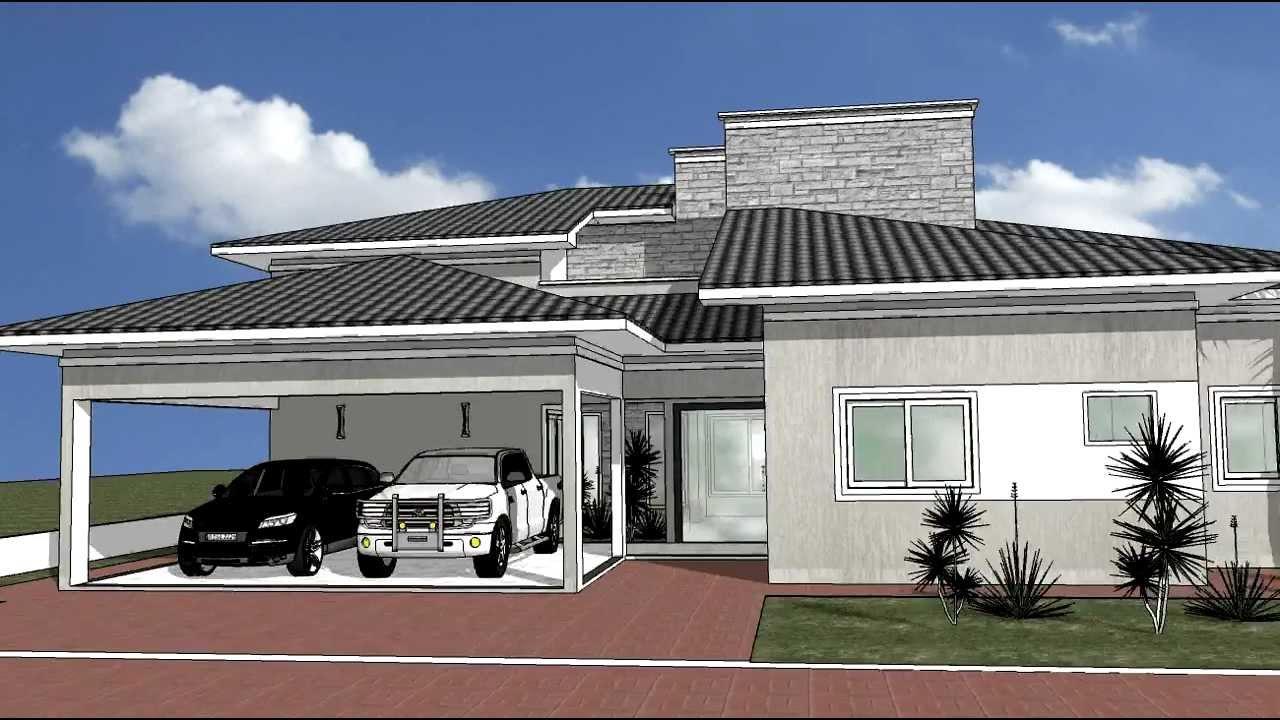 Desenho projeto sketchup casa 10 youtube for Casa moderna sketchup download