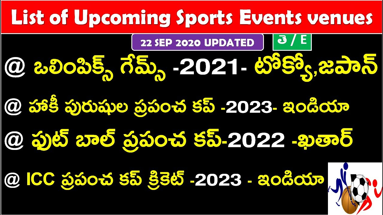 List of Upcoming Sports Events venues 2020 In Telugu | sports current affairs in telugu | RRB NTPC