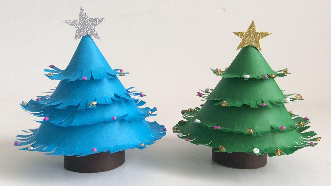 Paper christmas tree rbol de navidad de papel for Navidad adornos manualidades navidenas
