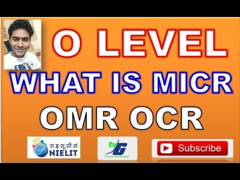 O LEVEL NOTES WHAT IS MICR OCR OMR IN HINDI CLASS #9