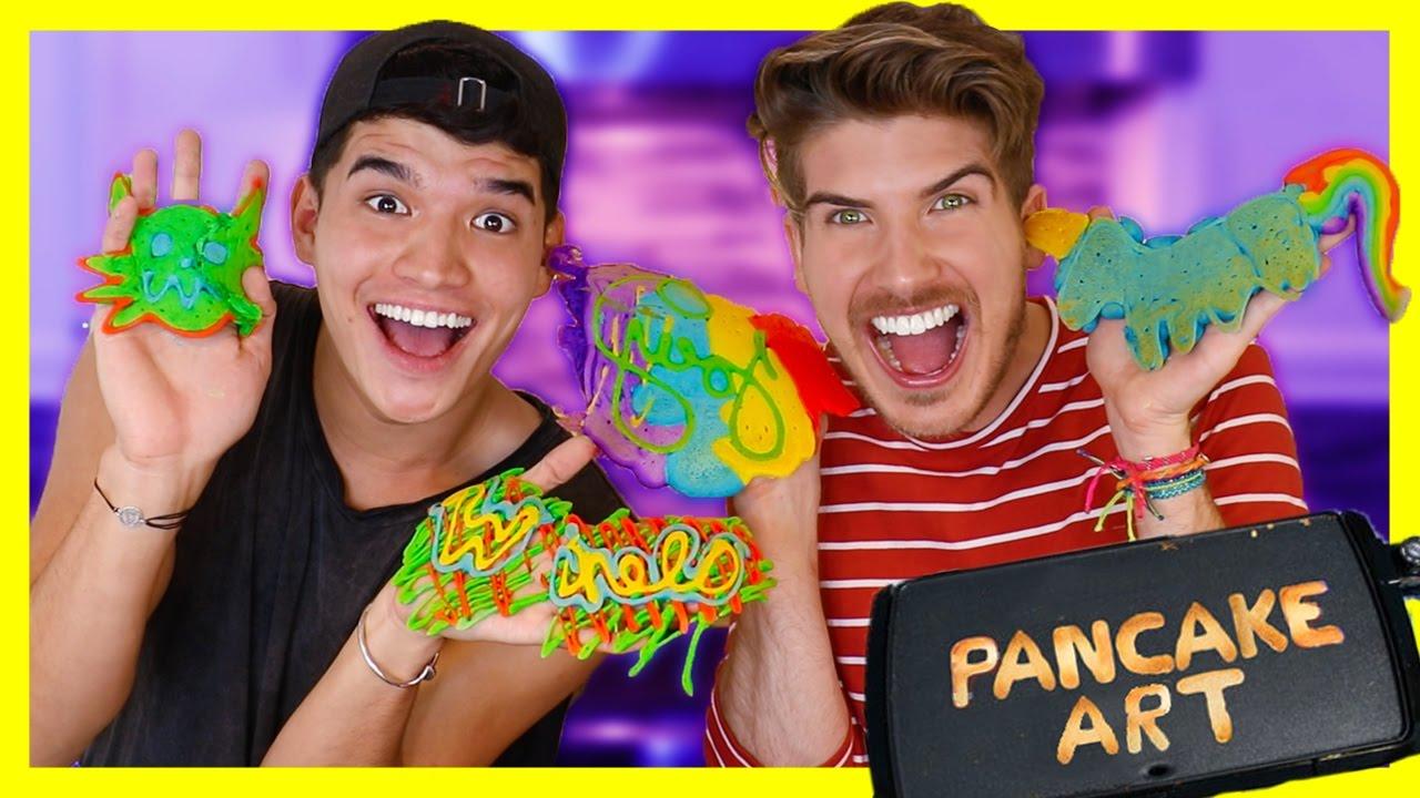 PANCAKE ART CHALLENGE! W/Alex Wassabi - YouTube