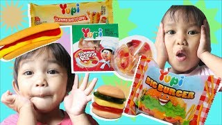 Laya Biya. jualan jualanan makanan permen yupi burger, pizza, hotdog pretend play food