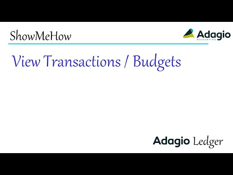 Adagio Ledger - View Transactions and Budgets